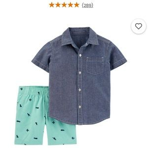 NWT Carter's 12m 2-Piece Chambray Shirt & Shorts